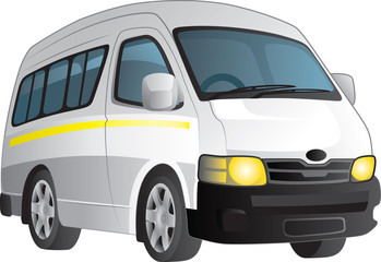 Vector cartoon of a white minibus taxi