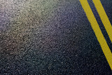 Fototapety asphalt detail with yellow double line