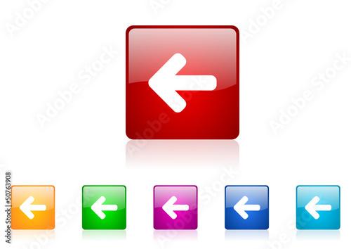 arrow left vector icon set
