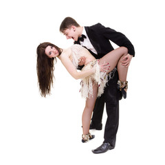 Young elegant couple dancing