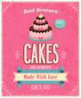Vintage Cakes Poster. Vector illustration.