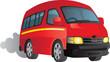 Vector cartoon of a red minibus taxi - 50764394