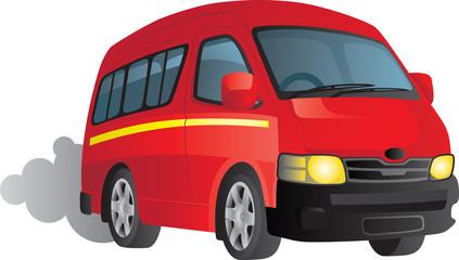 Vector cartoon of a red minibus taxi
