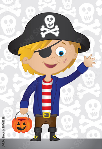 Trick or treat. Boy dressed in a pirate outfit for Halloween