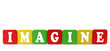 imagine - isolated text in wooden building blocks