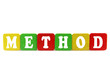 method - isolated text in wooden building blocks