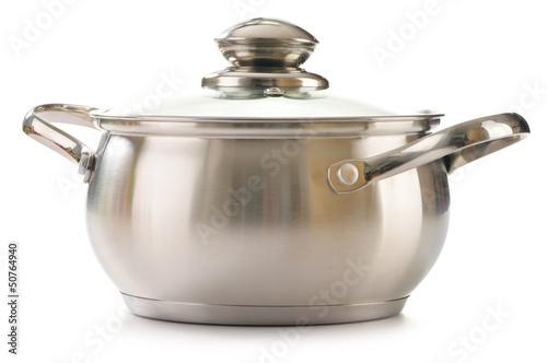 Stainless pan isolated on a white