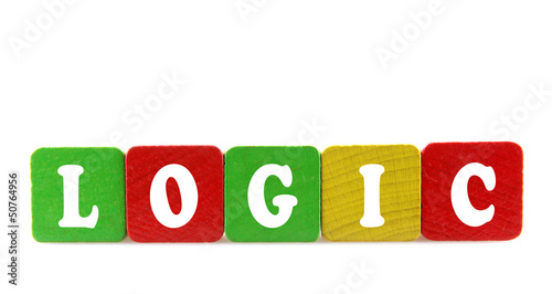 logic - isolated text in wooden building blocks