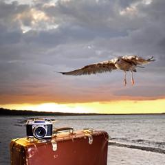 Sonnenuntergang mit Koffer und Fotoapparat am Meer