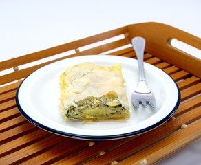Turkish pie with cheese and spinach