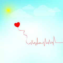 EKG red line heart illustration