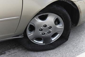 Damaged automobile tire