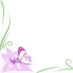 sfondo fiore e farfalla