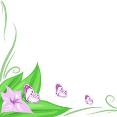 decorazione fiore e farfalline