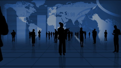 Montage Silhouette Business People with CG Globe Graphics