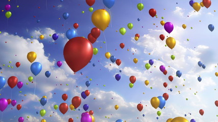 Colorful Balloons - Festive / Party Video Background Loop
