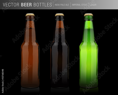 vector beer bottle - black