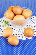 Eggs in bowl on blue tablecloth close-up