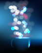Vector coffee cup against blue blurred background.