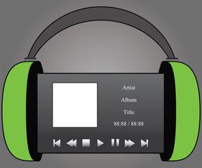 Green Headphones Audio Player