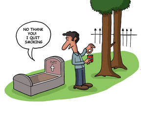 Death quits smoking