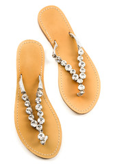 Big carved crystals flip flop sandals