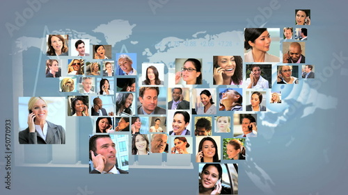 Montage Business People USA Shape Map CG Global Communications