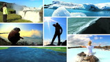 Montage Outdoor Activities with Scenes Natural Beauty Iceland