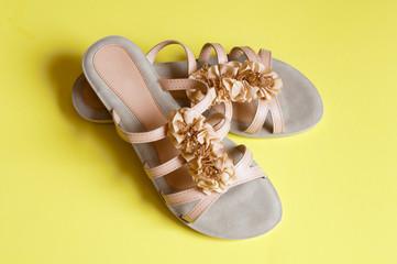 Ladies beige sandals low heels