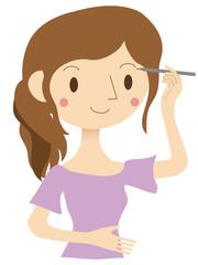 メイクをする女性 アイブロウ