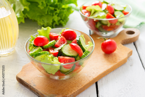 Fresh salad from cucumbers and tomatoes