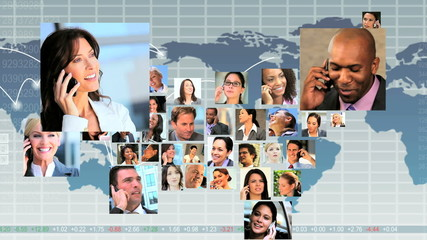 Montage USA Shape Business People Using Global Telecommunication
