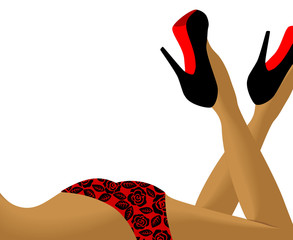 Sexy female legs in shoes with space for text