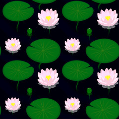 Seamless pattern - Evening pond with lilies, vector illustration