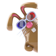 Chocolate bunny in 3d glasses hides round corner