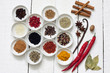 Spices and dried vegetables on vintage white planks