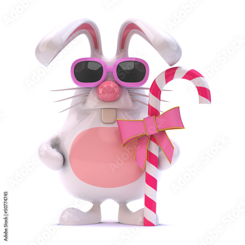 White rabbit in pink sunglasses with candy