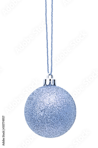 Silver Christmas sphere on the white
