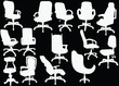 office chairs collection isolated on black