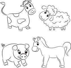 Vector set of outlined cartoon animals.