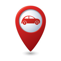 Map pointer with car icon. Vector illustration