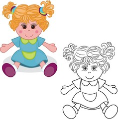 Coloring book. Girl doll toy on white background. Vector