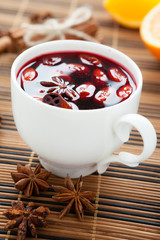 traditional hot beverage from warm wine, mulled wine