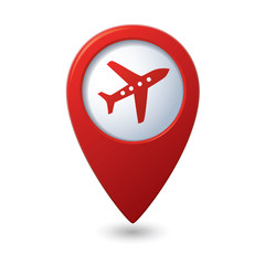 Map pointer with airplane icon. Vector illustration