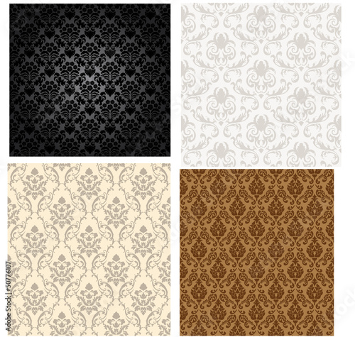 Damask seamless color pattern set