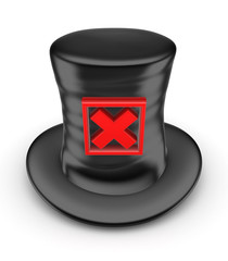 Black top-hat with red cross mark.