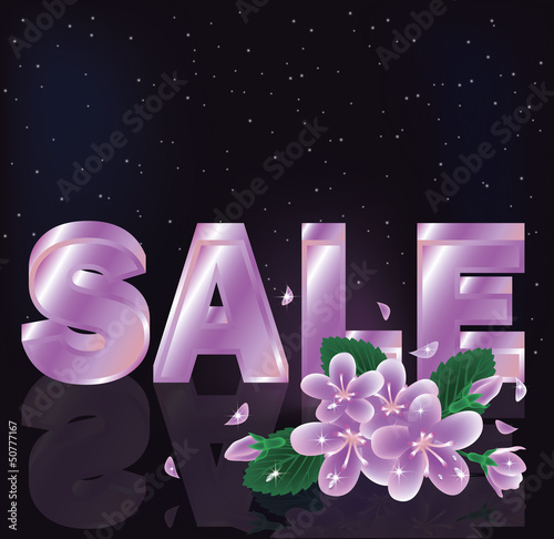 Spring sale card, vector illustration