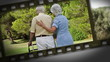 Filmstrip of elderly couple in a park