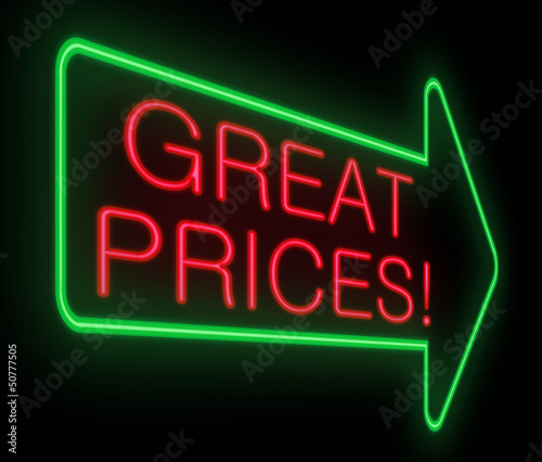 Great prices concept.