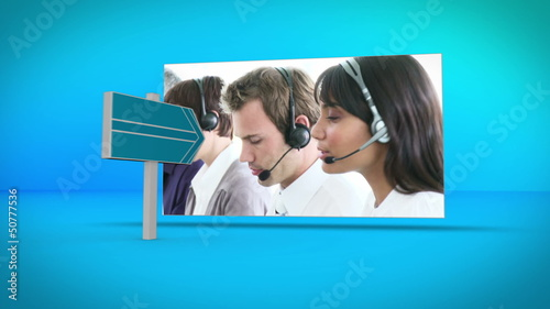 Business and call center montage on blue background